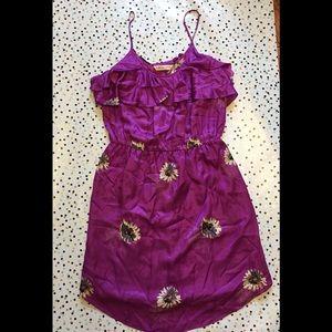 REBECCA TAYLOR Purple Ruffle Strap Dress Size 8